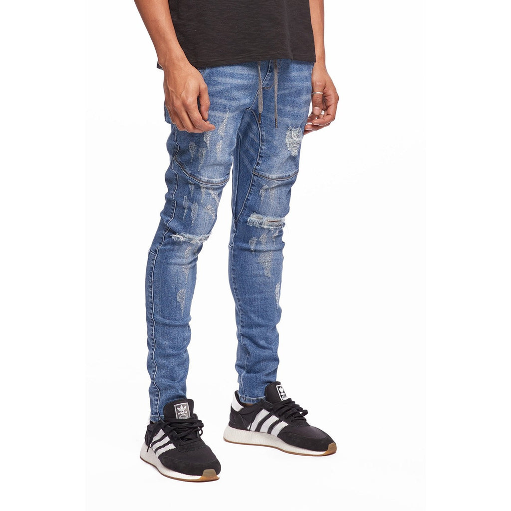 Dark Blue Open Leg Denim Jogger