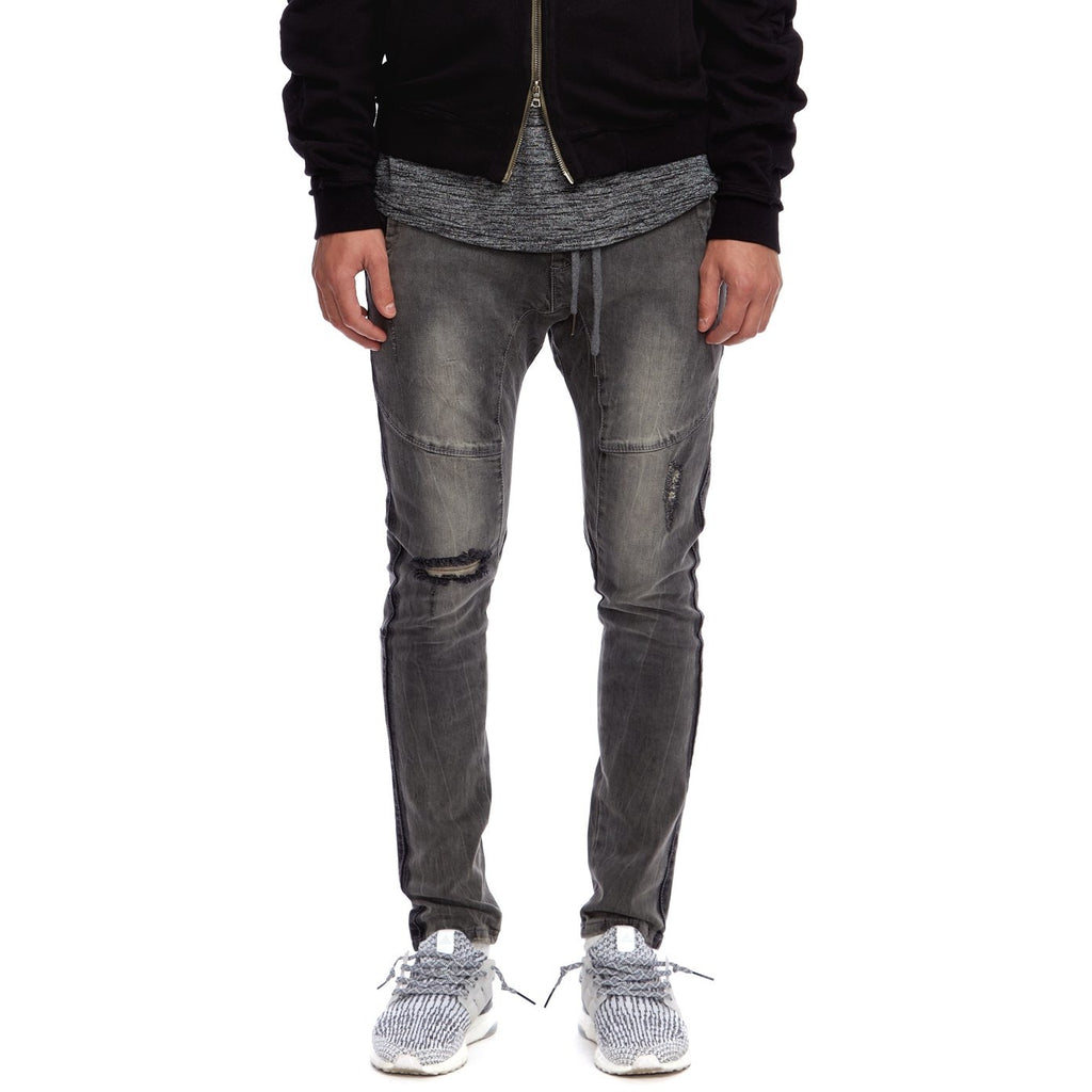 Open Leg Denim Jogger Stone Grey