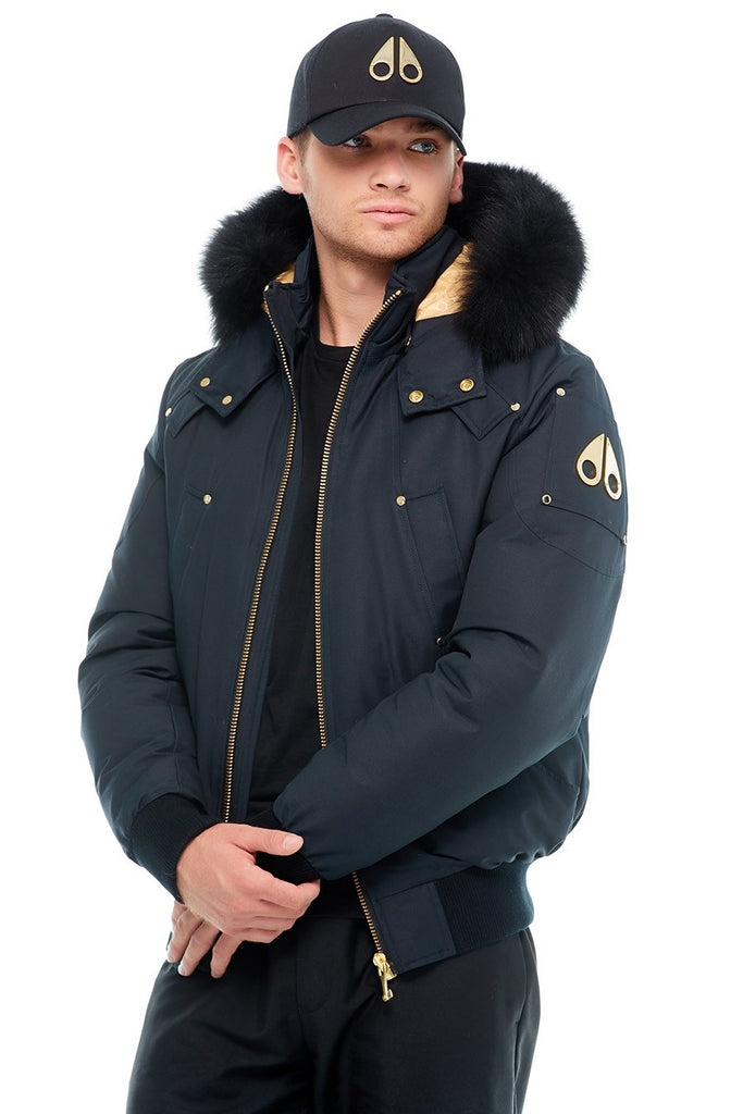 MOOSE KNUCKLES LITTLE RAPIDS BOMBER NAVY/BLACK FOX FUR