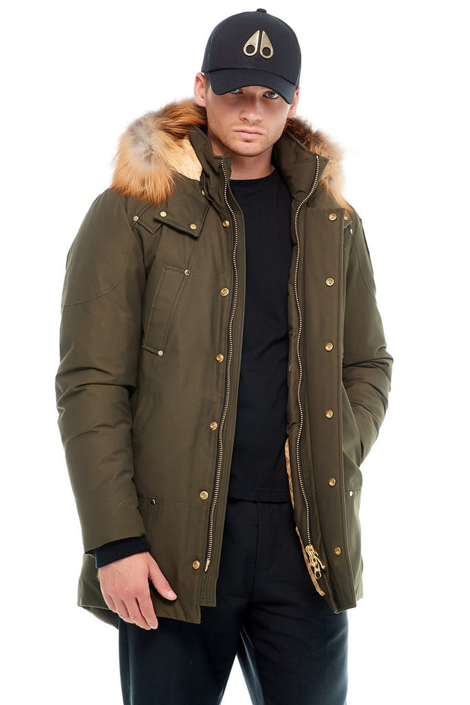 MOOSE KNUCKLES STAG LAKE PARKA ARMY/GOLD FOX FUR