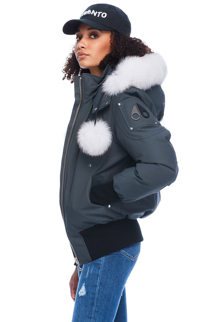 MOOSE KNUCKLES DEBBIE BOMBER GRANITE/NATURAL FOX FUR