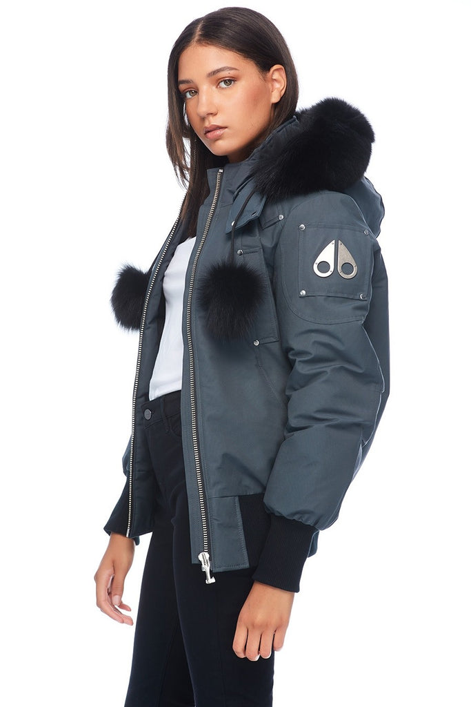 MOOSE KNUCKLES DEBBIE BOMBER GRANITE/BLACK FOX FUR