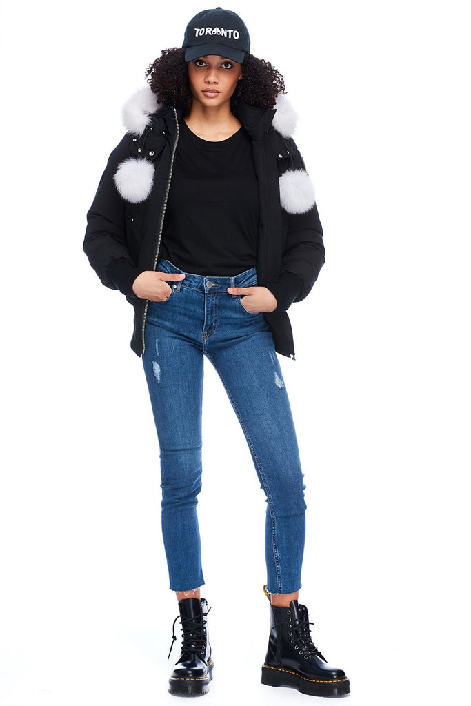 MOOSE KNUCKLES DEBBIE BOMBER BLACK/NATURAL FOX FUR