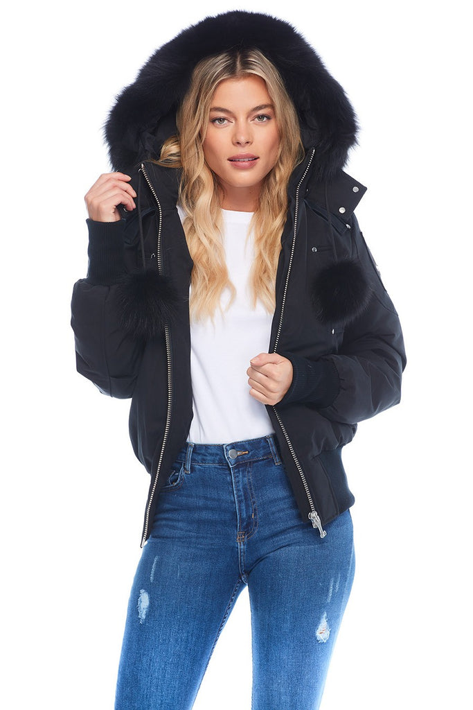 MOOSE KNUCKLES DEBBIE BOMBER BLACK/BLACK FOX FUR