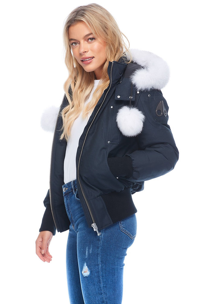 MOOSE KNUCKLES DEBBIE BOMBER NAVY/NATURAL FOX FUR