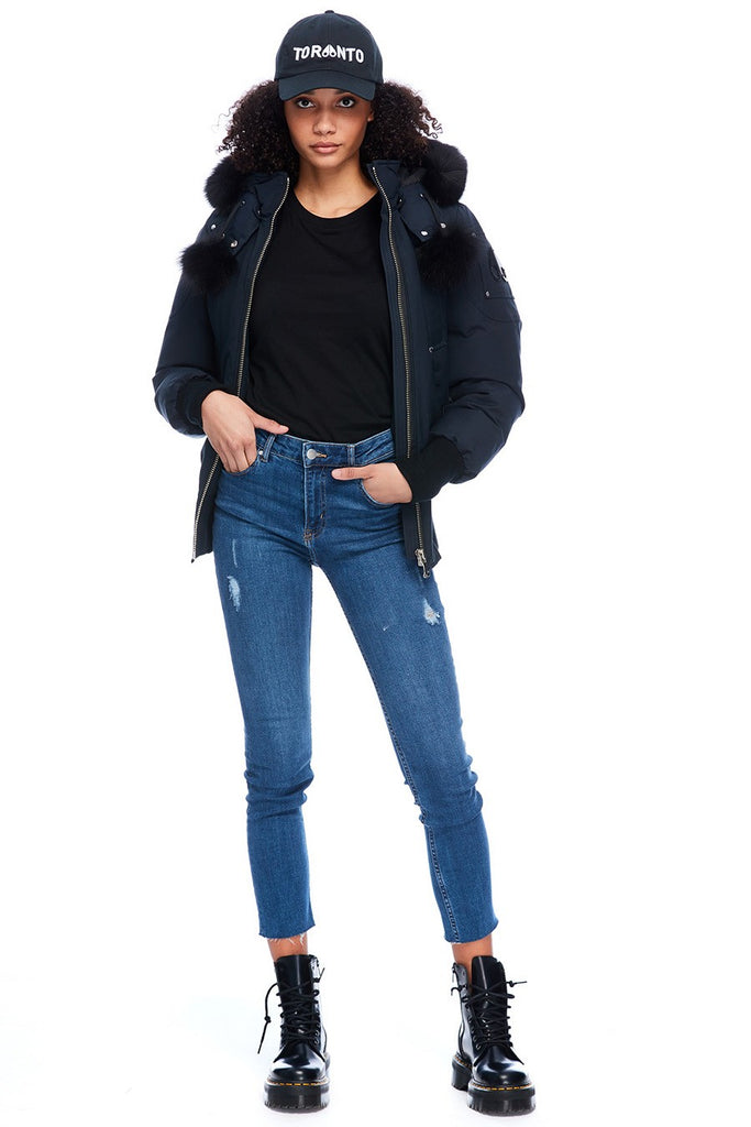 MOOSE KNUCKLES DEBBIE BOMBER NAVY/BLACK FOX FUR