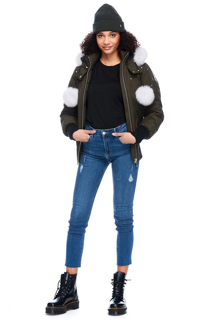 MOOSE KNUCKLES DEBBIE BOMBER ARMY/NATURAL FOX FUR