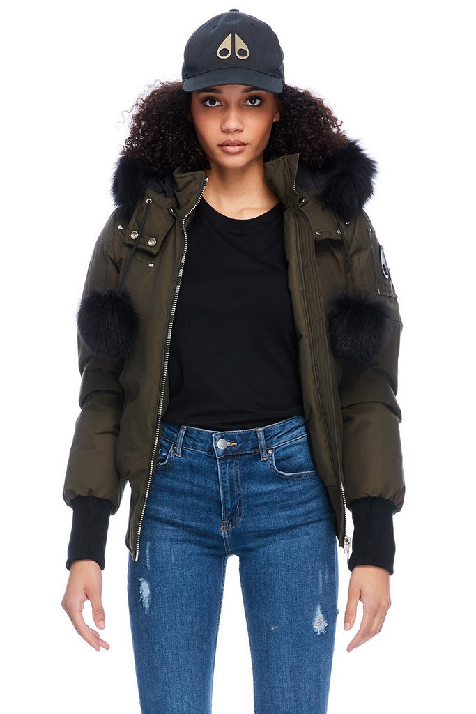 MOOSE KNUCKLES DEBBIE BOMBER ARMY/BLACK FOX FUR