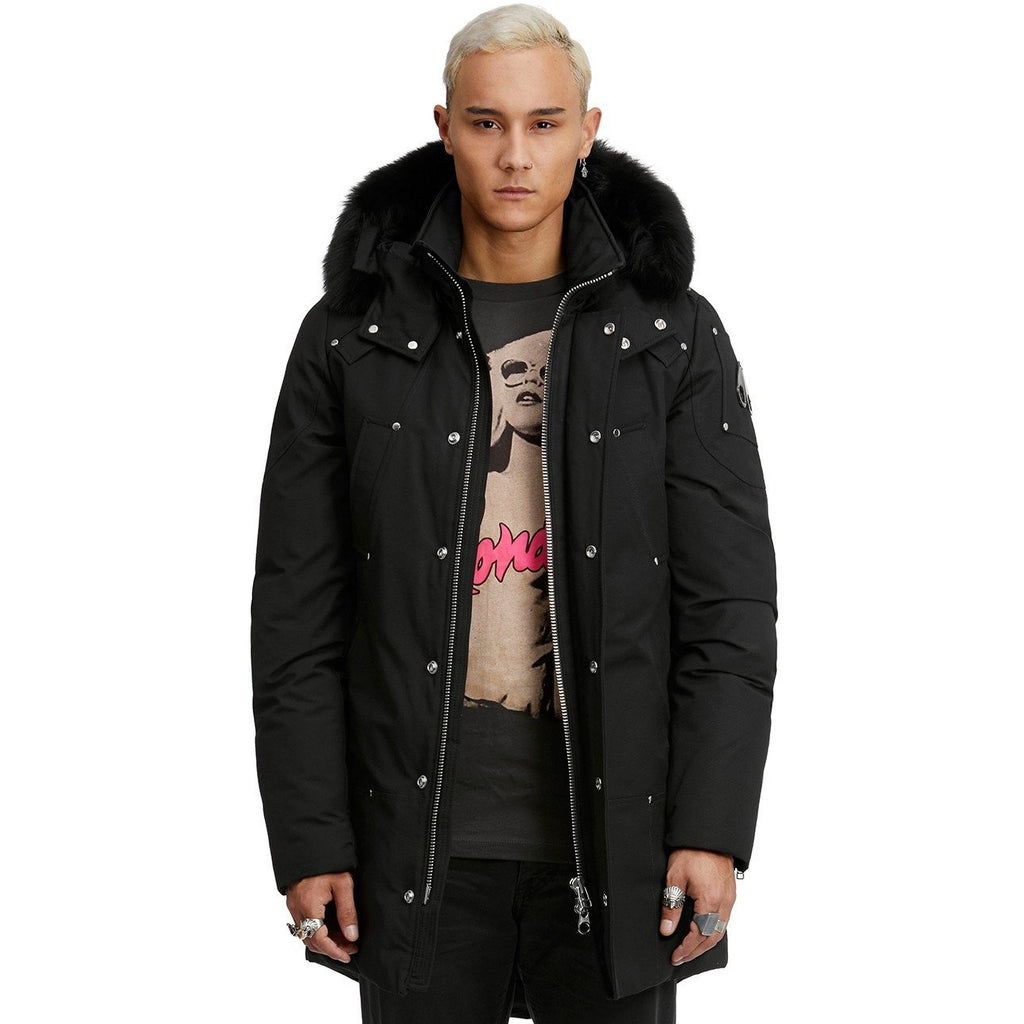 Men's Moose Knuckles Stirling Parka- Black W/Black Fur