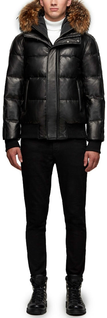 Men's Rudsak Bailey Lamb Leather Down Puffer Jacket - Black