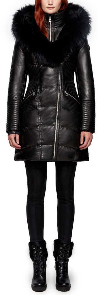 Women's Rudsak Sia Lamb Leather Down Puffer Jacket - Black