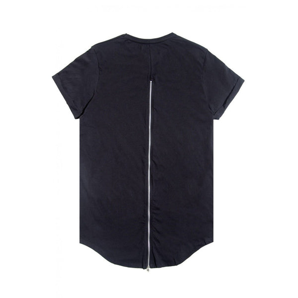 Men's Sixth June Oversized Black T-Shit with Zipper