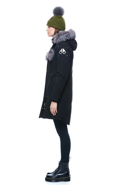 Women's Moose Knuckles Stirling Parka - Black/Silver Fox