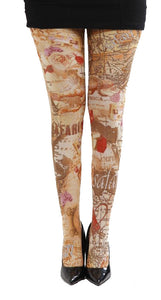 World Atlas light brown Tights with map print by Pamela Mann Uk on Tights Etc South Africa