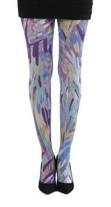 Zephyr multi colour stripes printed tights dripping paint effect in blue and purple by Pamela Mann Uk on Tights Etc South Africa