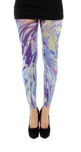 Zephyr footless multi colour stripes printed tights dripping paint effect in blue and purple by Pamela Mann Uk on Tights Etc South Africa