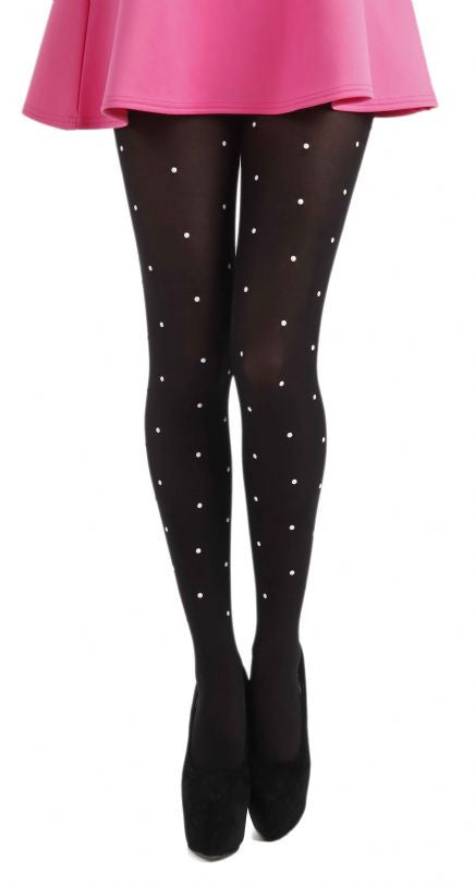 Silver Pearl Studs on solid black Tights by Pamela Mann UK on Tights Etc South Africa