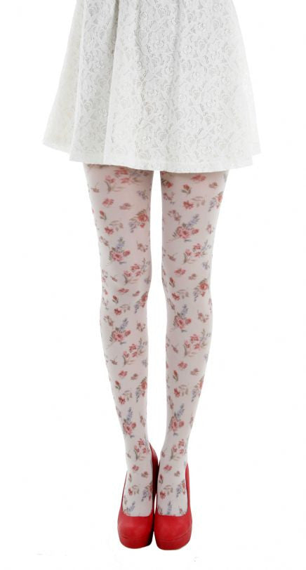 Autumn Flower White Printed Tights by Pamela Mann UK tights Etc south africa