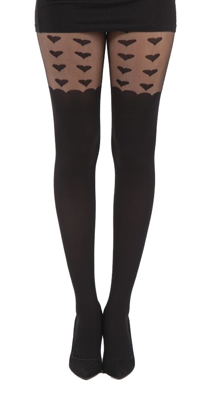 Large Hearts over the knee Scalloped edge Suspender Tights in Black and Sheer by Pamela Mann UK on Tights Etc South Africa