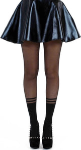 Two Stripe Mock Sock Sheer Tights in black and sheer by Pamela Mann Uk on Tights Etc South Africa