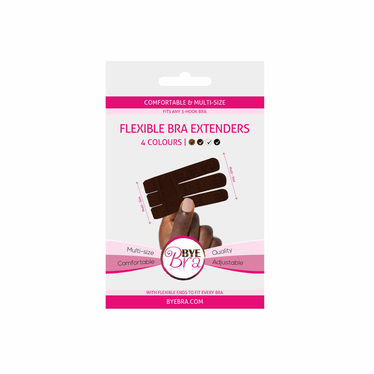 Bye Bra provides the new generation of bra extenders. This 3 Three Hook Bra extenders are extension pieces for any bra that is too tight, giving a better fit to any Bra that is too small