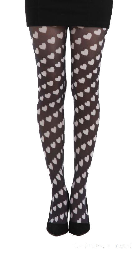 Candy Heart Black and White Printed Tights by Pamela Mann UK on Tights Etc South AFrica