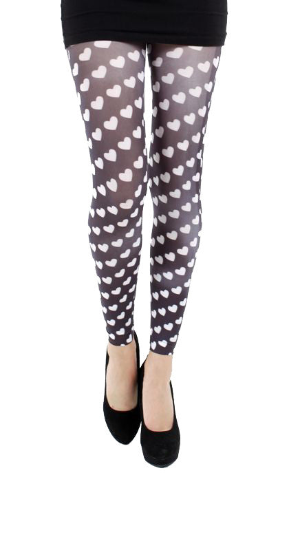 Candy Heart Black and White Footless Printed Tights by Pamela Mann UK on Tights Etc South AFrica