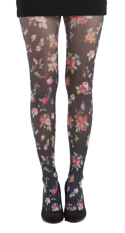 Ditsy floral Black printed tights with scattered flowers by pamela mann uk on Tights Etc South Africa