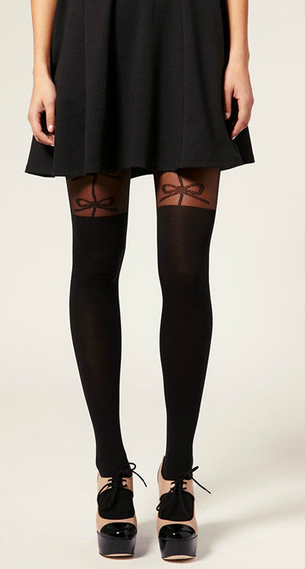 Three Big Bow over the knee Suspender Tights in black and sheer by Pamela Mann UK on Tights Etc South Africa