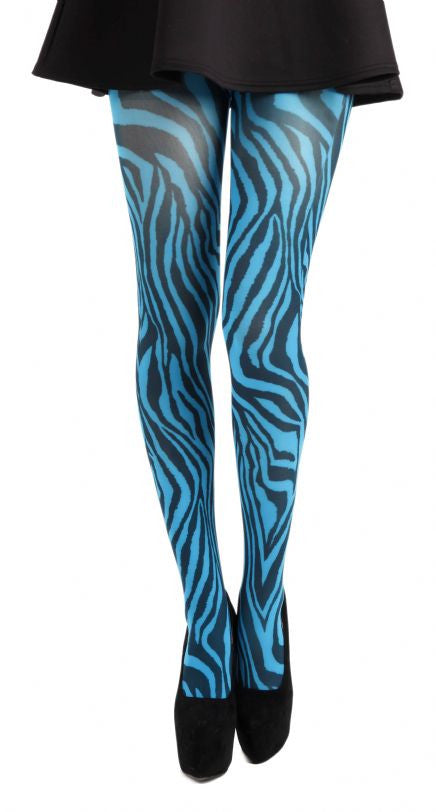 Zebra Animal Print Turquoise Tights by Pamela mann UK on Tights Etc South Africa