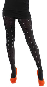 Silver Crosses on Solid Black 80 denier Tights by pamela mann UK on tights etc south africa