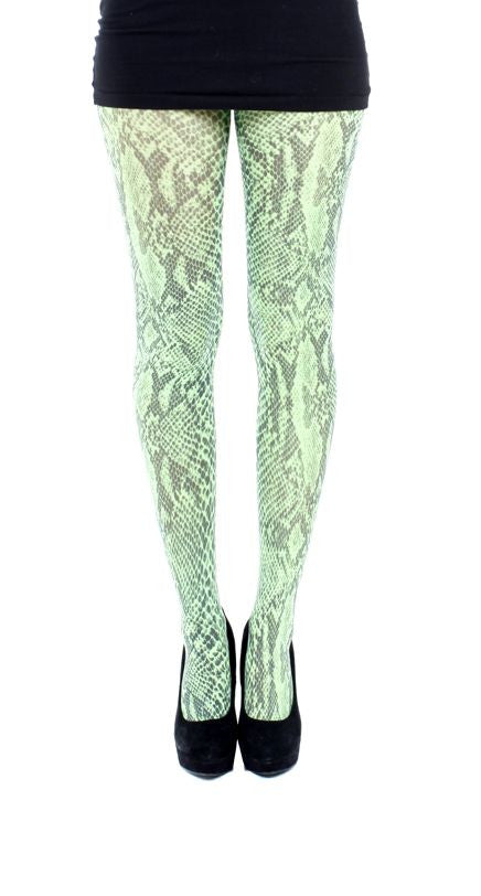 animal skin Snake Print on green Tights by  Pamela Mann UK on Tights Etc South Africa