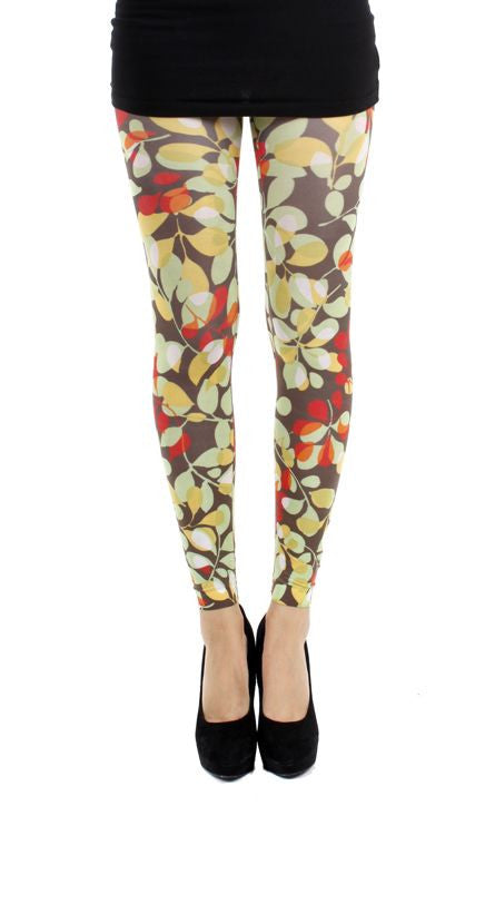 Forest Glade Footless Printed Tights Autumn colour of brown olive green and red printed Tights by Pamela Mann UK on Tights Etc South Africa