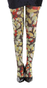 Forest Glade Footless Autumn Colours of Brown Olive Green and Red Printed Tights by pamela mann UK on Tights etc south africa