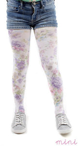 Purple Flowers printed on White Tights kids by Pamela Mann UK on Tights Etc South Africa