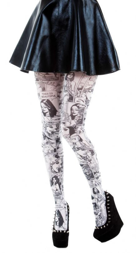 Paradise Island comics printed Black and white Tights by Pamela Mann UK on Tights Etc South Africa