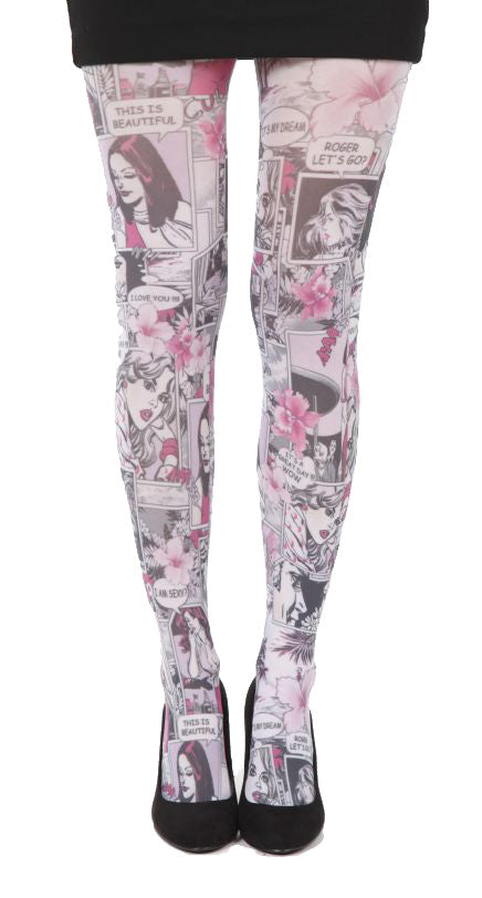 Paradise Island Pink comics Printed Tights in  pink black and white by Pamela Mann UK on Tights Etc South Africa