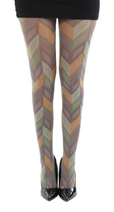 Pleats pattern in brown orange and green tights autumn colours by pamela mann UK on Tights Etc South africa
