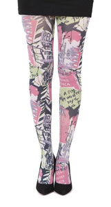 Public Enemy grafitti Printed Tights in pink yellow and black by pamela mann UK on tights etc south africa