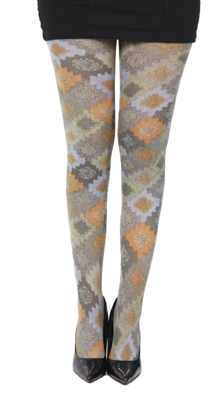 Sarex diamond shape pattern Tights in Brown orange and blue by Pamela Mann UK on Tights Etc south Africa