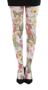 Secret Garden Flowers and butterflies Printed on white Tights by pamela mann UK on Tights etc south Africa