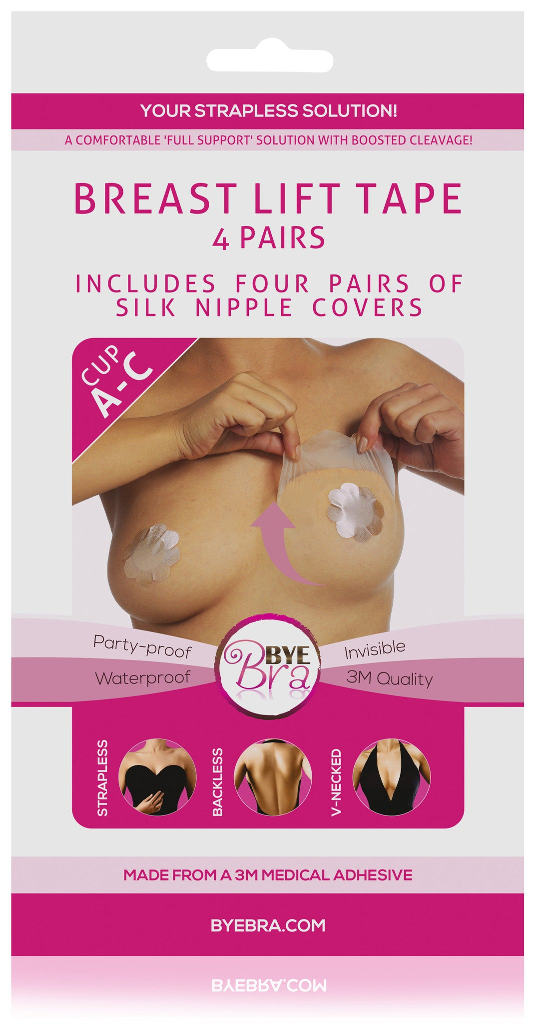 Medical 3M Tape by Henkel, Breast lift Tape Cup A-C with Silk Nipple Covers By Bye Bra Holland