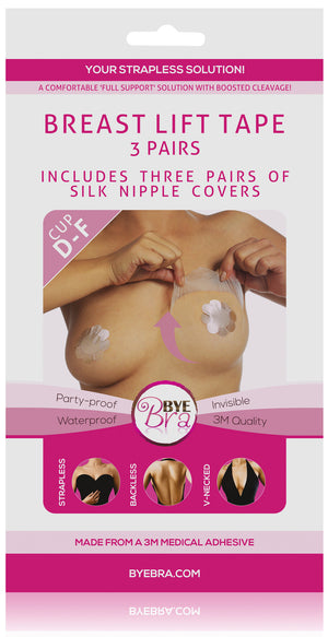 Bye Bra breast lift 3M medical tape cup D-F with Nude Silk nipple covers on Tights Etc South Africa