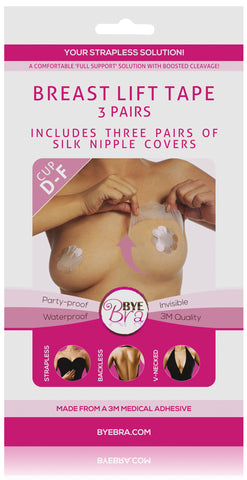 BREAST LIFT TAPE CUP D-F WITH NUDE SILK NIPPLE COVERS