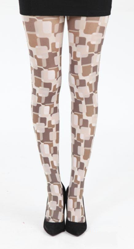 Suburb brown square Pattern Printed Tights by Pamela Mann UK Tights Etc South Africa