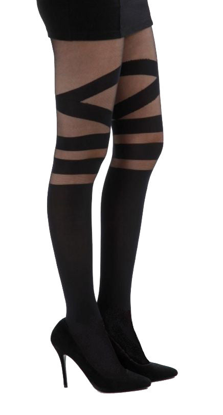 V Strap over the knee Tights mock sock suspender by Pamela Mann UK on Tights Etc South Africa