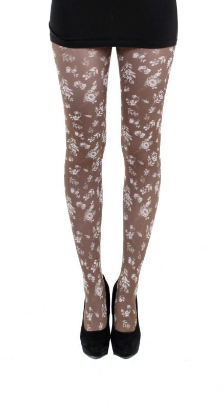 Autumn Flower Brown Printed Tights by Pamela Mann UK tights Etc south africa