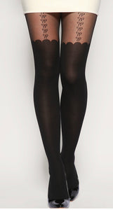 Bow Suspender Scallop Sheer Tights