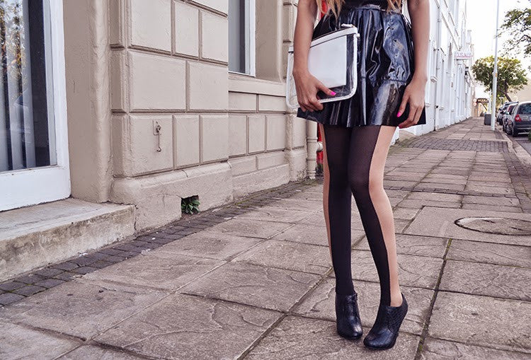 The Illusion Tights in black sheer and white sides by Pamela Mann UK on Tights Etc South Africa