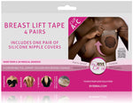 Bye Bra breast lift 3M medical tape cup A-C with Dark Silicone nipple covers on Tights Etc South Africa